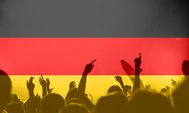 Football fans with blending Germany flag royalty free stock photos