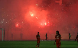 Football fans. Celebrate the victory of his team in the competition between clubs in a stadium in the city of Solo, Central Java, Indonesia Royalty Free Stock Photography