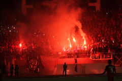 Football fans. Celebrate the victory of his team in the competition between clubs in a stadium in the city of Solo, Central Java, Indonesia Royalty Free Stock Photos