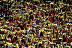 Football fans. Celebrate the victory of his team in the competition between clubs in a stadium in the city of Solo, Central Java, Indonesia stock photo