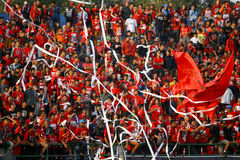 Football fans. Celebrate the victory of his team during a match in the city of Solo, Central Java, Indonesia royalty free stock photos