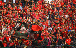 Football fans. Celebrate the victory of his team during a match in the city of Solo, Central Java, Indonesia Royalty Free Stock Photo