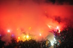 Football fans celebrating goal Stock Image