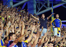 Football fans cheering in Petrolul Ploiesti-Swansea FC Stock Images