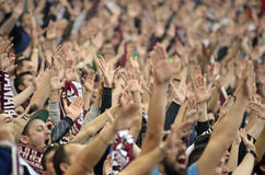 Football fans cheering Royalty Free Stock Images