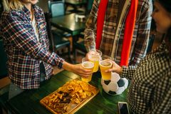 Football fans clink glasses with beer in sport bar. Football fans clink glasses with light beer in sports bar. Tv broadcasting, young friends celebrates win of stock photos