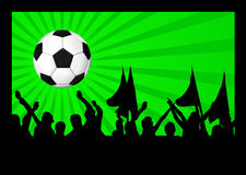 Football fans crowd and the ball Royalty Free Stock Images