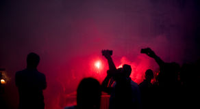 Football fans crowd in the city celebrating victory. In turin Stock Images