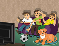 Football fans and dog. Royalty Free Stock Photography