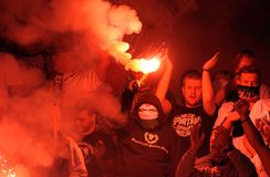 Football fans, hooligans Stock Images