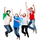 Football fans jumping Stock Image