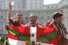 Football fans with painted faces. Athletic Bilbao's fans during a visit to Bucharest for the Europa League Final against Atletico Madrid Royalty Free Stock Photos