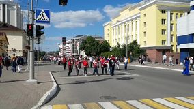 Football fans from Peru are on the streets of Saransk in the direction of the stadium before the match with Denmark