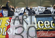 Football fans protest Stock Image