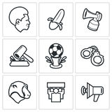 Football fans and racism icons. Vector Illustration. Royalty Free Stock Image