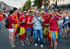 Football fans ready to go to match Royalty Free Stock Photo