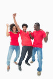 Football fans in red cheering together Royalty Free Stock Image