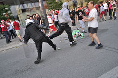 Football fans riot Stock Image
