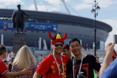 Football fans at Saint Petersburg stadium during FIFA World Cup Russia 2018 royalty free stock images