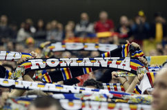 Football fans with scarves Royalty Free Stock Photography