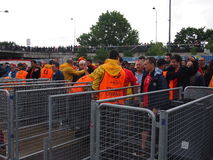 Football fans searched by security Royalty Free Stock Photo