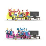 Football fans set. Two teams at home Stock Image