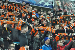 Football fans of Shakhtar team Royalty Free Stock Photo