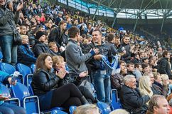 Football fans at spectators` stands Royalty Free Stock Photos