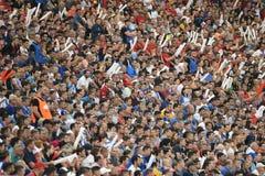 Football fans at the stadium. Bucharest, Romania - May 27, 2018: Football fans at the stadium during Romania`s Cup final between CSU Craiova and FC Hermannstadt royalty free stock photos