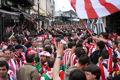 Football fans on streets Royalty Free Stock Image