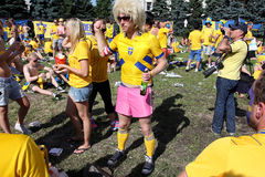 Football fans from Sweden have fun on the street Royalty Free Stock Photo