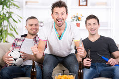 Football fans. Three football fans are cheering football match at home royalty free stock images
