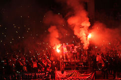 Football fans. To take action to support the club in the city of Solo, Central Java, Indonesia royalty free stock photography