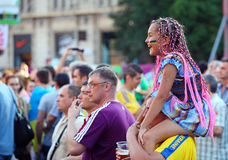 Football fans watching show on Kreshatik royalty free stock image