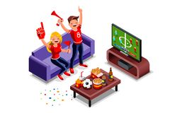 Football Fans Watching World Cup Game on Tv. Friends, football fans watching world cup game on tv. Can use for web banner, infographics, hero images. Flat stock illustration