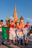 Foreign fans of the World Cup 2018 on Red Square. Royalty Free Stock Photos