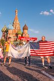Foreign fans of the World Cup 2018 on Red Square. Royalty Free Stock Image