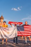 Foreign fans of the World Cup 2018 on Red Square. Royalty Free Stock Photography