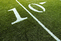 Football Field with 10-Yard Stock Photo