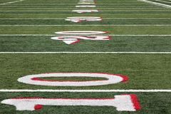 Football field from 10 yard line Royalty Free Stock Images