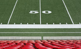 Football field. Fifty yard line on football field Stock Images