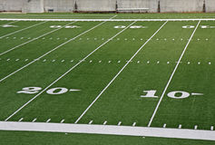 Football field. Twenty and ten  yard lines on football field Stock Photos