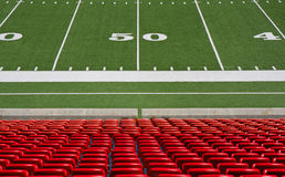 Football field. Fifty  yard line on football field Royalty Free Stock Photo