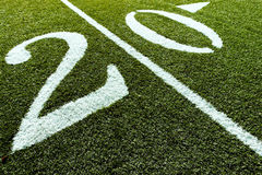 Football Field with 20 Yard. 20 Yard Line of Football Field stock images