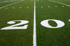 Football Field 20 Yard Line Stock Photo