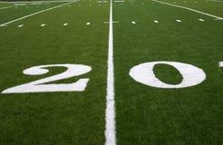 Football Field 20 Yard Line. 20 Yard LIne on an American Football Field Stock Photo