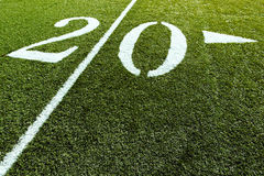 Football Field 20 Yard Line. 20 Yard Line of football Field stock images
