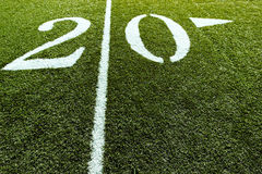 Football Field 20 Yard Line Stock Image
