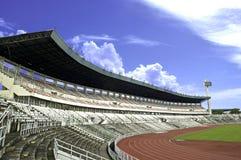 Football field. Empty football field with beautiful sky Royalty Free Stock Photos