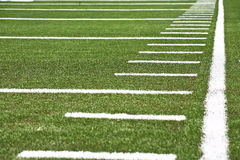 Football field. Close up of the  yard lines in a football field Royalty Free Stock Images
